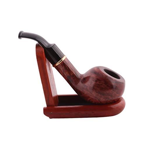 Healifty Cachimbo de madeira para fumar cachimbo de tabaco esculpido, retrô, prático, durável, tubo de madeira maciça para homens, 1 peça