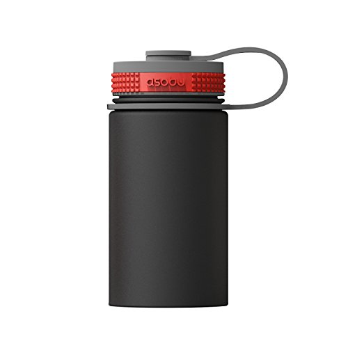asobu Mini Hiker Double Walled Vacuum Insulated Stainless Steel Compact Water Travel Bottle 12 Ounce (Black)