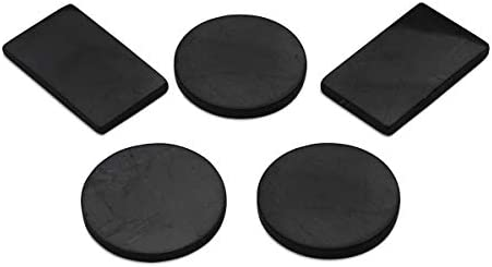 Shungite Mobile Phone Plates | Stickers Made of Shungite Stones to Use on Your Mobile Phone and Other Electronic Devices | Set of 5 Adhesive Plates (3 Circle, 2 Rectangle)