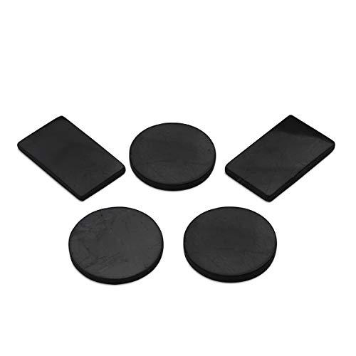 Shungit-Handyplatten, Anti-Strahlungs-Aufkleber aus Shungit für EMF-Schutz Für Einsatz auf Ihrem Handy und Anderen Elektronischen Geräten | Set mit 5 Selbstklebenden Platten (3 Kreise, 2 Rechtecke)