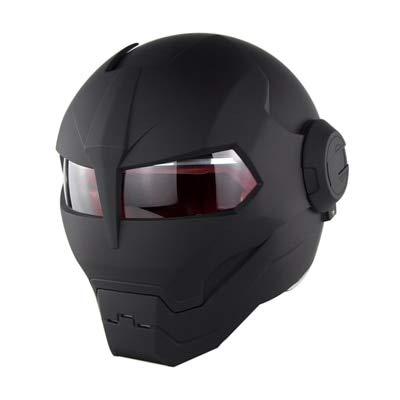MYSdd Cooler und stylischer Motorradhelm Flip Skull Capacetes Flip Helm Schnelle und einfache Schnalle, weiches und bequemes Futter - mattschwarzes XM