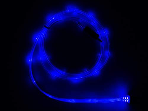 LifeShift Cable de carga USB Micro B, 1 m, iluminación azul, sin efecto de flujo, sin sacudidas, iluminación permanente, tecnología LED, de Alemania, por ejemplo, para Samsung Galaxy hasta S7 (azul)