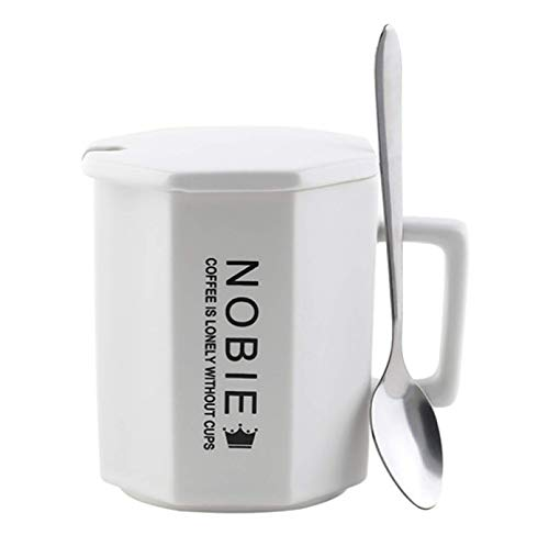 New Office Simple Mug Home Creative Multifunctional Ceramic Mug with lid and Spoon Couple Coffee Cup