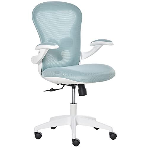 Vinsetto Bürostuhl mit Mesh-Gewebe Schreibtischstuhl Höhenverstellbarer Gaming-Stuhl Home-Office ergonomisches Design Schaumstoff Nylon Mesh Blau+Weiß 66 x 59 x 97-106,5 cm