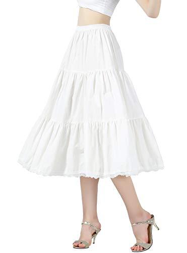 Damen Unterrock 100% Baumwolle Vintage A-Linie Rock Lang Kurz Halbrock mit Falten Spitze Dirndl Petticoat Ivory 55CM 75CM Größe S M L