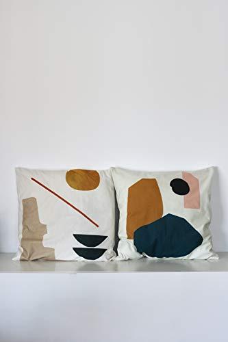 anaan 'Tofu' Kissenbezug Kissenhülle 45x45cm Samt Dekokissen Sofakissen Zierkissen Design skandinavisch Motiv geometrische Muster