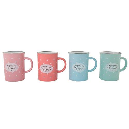 Dcasa - Tazas vintage ceramica 4 colores topos 300ml / Set