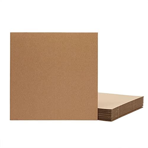 Hojas de cartón corrugado - Paquete de 24 hojas planas de cartón, inserciones de cartón para embalaje, envío, manualidades - Marrón, 30 x 30 cm (12 x 12 pulgadas)