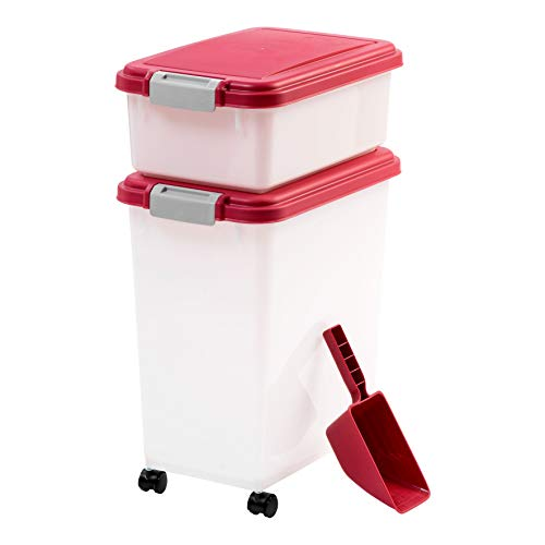 dog food storages IRIS USA 3Piece Airtight Pet Food Container Combo, Red MP-8/MP-1/SCP-2, Garnet Red/Pearl