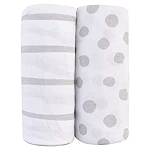 Adrienne Vittadini Bambini Jersey Cotton Standard Crib Sheets 2 Pack Stripes & Dots, Grey