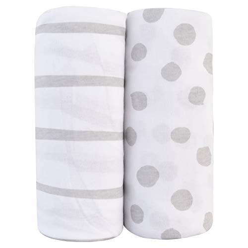 Review Of Adrienne Vittadini Bambini Jersey Cotton Pack N Play Sheets 2 Pack Stripes & Dots, Grey