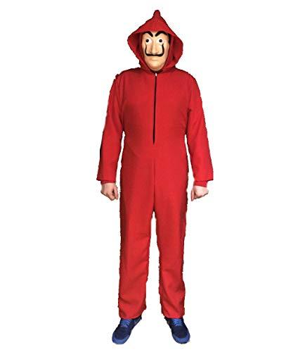 Kostuum, geïnspireerd op een populaire tv-serie. Geen origineel product van La Casa de Papel. Rode overall met capuchon en masker. Maat L.