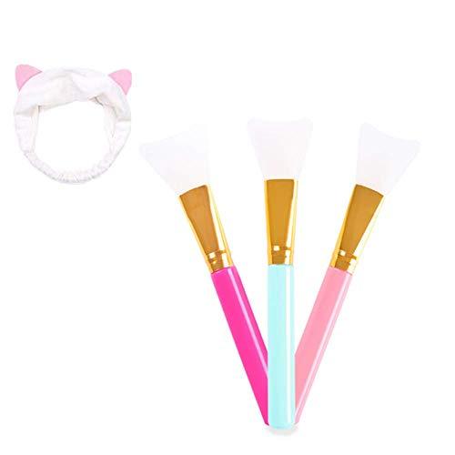 Voarge Gezichtsmasker, 3 stuks en 1 hoofdband voor kattenoren, haarlosse gezichtsmasker, kwastenset, cosmetica, make-up, gezichtsmasker, serum of DIY