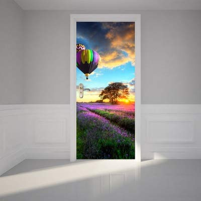 HXLF Türaufkleber Hauptdekoration 3D deur Aufkleber adesivi pro Porte Landschaftskunsttapete auf dem Wasserdichten Deurposter der Tür for Wandtürdekor (Color : Multi, Sticker Size : 77x200cm)
