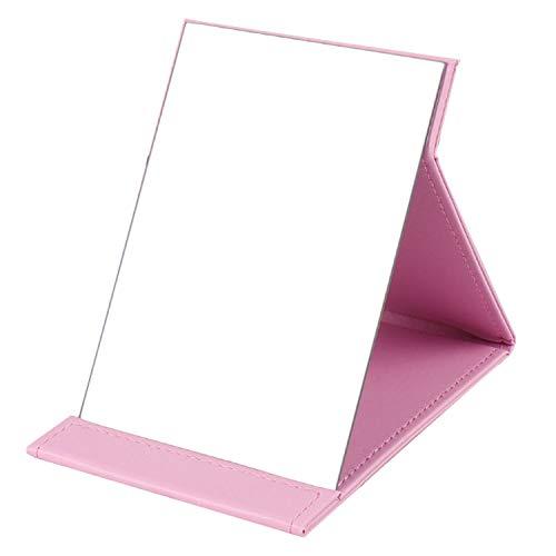 Portable Mirror,Mouyor Folding Vanity Mirror,Desktop Folding Mirror with Adjustable PU Leather Stand-Pink