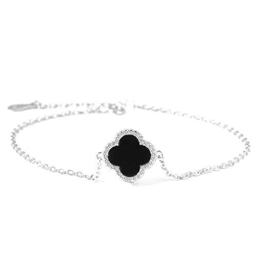 Siskey Women's Charm Bracelet,Sterling Silver Bracelet Adjustable Bracelet S925 Shiny Diamond Silver Bracelet for Lover's Birthday or Anniversary Present-(Four Leaf Clover,Black)