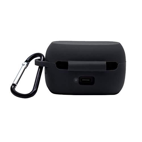 Hülle Silicone Kompatibel mit Jabra Elite 75t Wireless in-Ear Bluetooth Kopfhörer, Abdeckung Gehäuse Stoßfestes Schutzhülle für Jabra Elite 75t Ladecase Case Cover mit Karabiner (Schwarz)