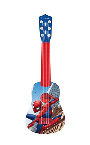 Lexibook K200SP_01 Marvel Spider-Man Peter Parker Meine erste Gitarre, 6 Nylonschnüre, 53 cm, Anleitung inklusive, blau/rot