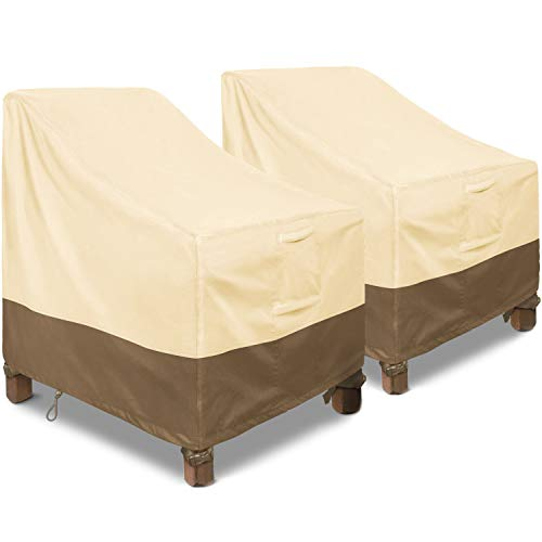 Patio Chair Covers, 2 Pack Large Waterproof Outdoor Sofa Cover 35' W x 38' D x 31' H, 600D Heavy Duty with 2 Air Vents for All Weather, Patio Furniture Covers (Khaki, Brown)