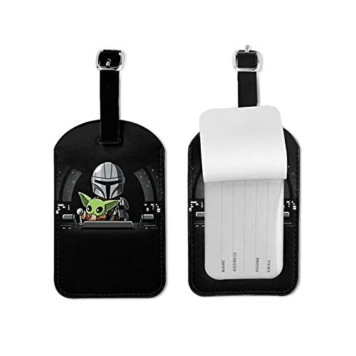 mandalorian Etiquetas de equipaje de microfibra de piel personalizada para maleta de equipaje Etiquetas de identificación de equipaje