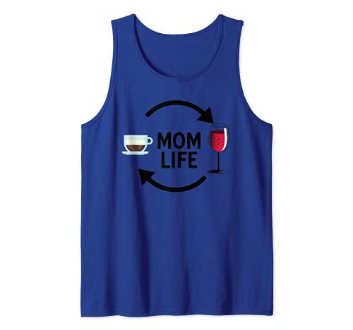 ¡VIDA DE MAMÁ! Café y vino Mom Life Meme Camiseta sin Mangas