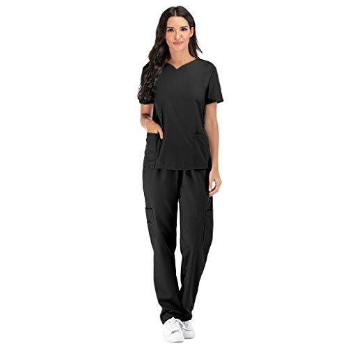 Zilosconcy Arbeitskleidung Kurzarm T-Shirts V-Ausschnitt + Hosen Pflege Set Unisex Medizin Arzt Berufsbekleidung mit Tasche Krankenschwester Kleidung Damen Uniformen Oberteil SchwarzL