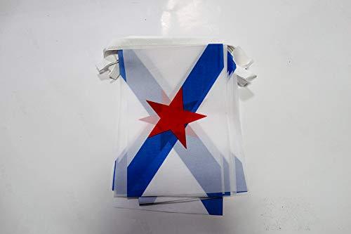 AZ FLAG Guirnalda 6 Metros 20 Banderas de Galicia ESTRELEIRA 21x15cm - Bandera INDEPENDENTISTA GALLEGA - NACIONALISMO Gallego 15 x 21 cm - BANDERINES