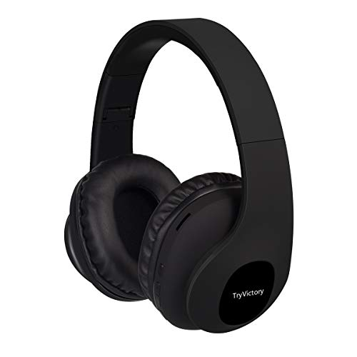 Bluetooth Headphones Over Ear 15 Hrs Wireless Headphones Foldable Soft Memory-Protein Earmuffs Rechargeable Hi-Fi Stereo Headset CVC6.0 Headphones with Mic for Cellphone/Tablet/TV(Black) (S1)