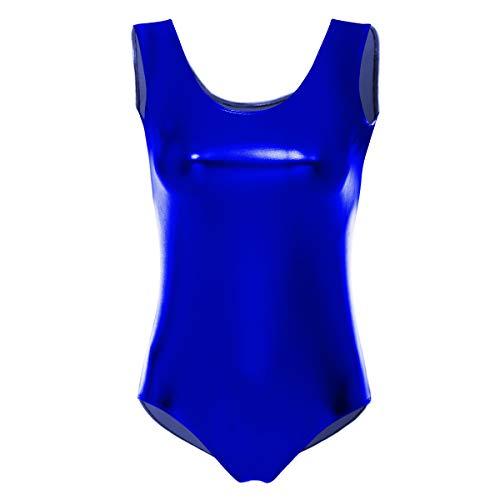 OBEEII Maillots de Danza Ballet Gimnasia Leotardo Clásico Vestido Mono de Entrenamiento Traje Brillante Atlético Metálico Escenario Salón de Entrenamiento de Trampolín para Mujer Azul Real L