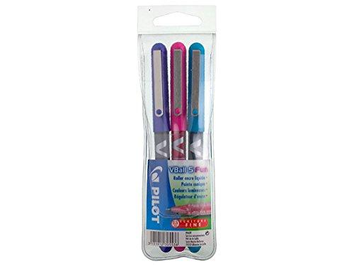 Pilot V-ball 05 - Bolígrafo roller (tinta líquida, punta fina), colores rosa/púrpura/turquesa