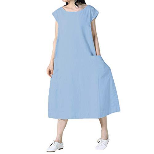 Damen-Kleid aus Baumwolle, mittellang, klassisches Kleid mit Boot-Ausschnitt, kurzärmlig, mit Tasche, Trapez-Kleid, gerades Trapez-Kleid am Knie (S-5XL) Gr. Large, blau