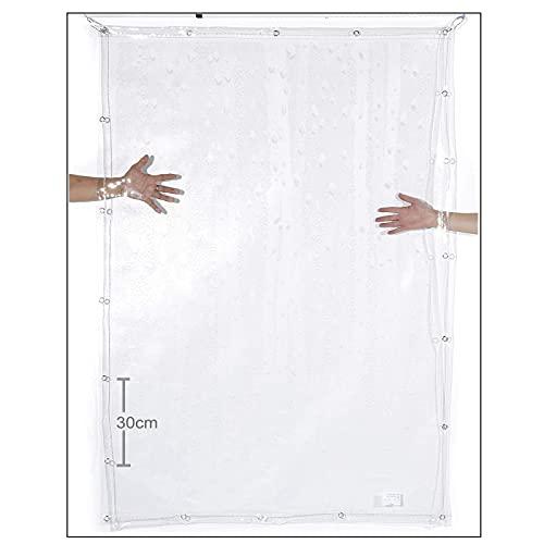 XKUN Lona transparente impermeable, lona de vinilo de PVC transparente con cordón blanco, dobladillo y ojales para barco, piscina, exterior, toldo para plantas (color transparente, tamaño: 0,5 x 1 m)