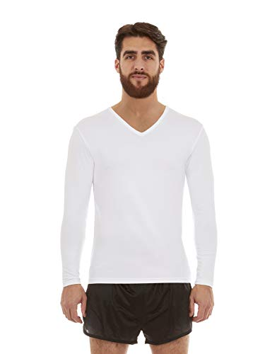 Thermajohn Mens Ultra Soft V-Neck Thermal Underwear Shirt - Fleece Lined Long Sleeve Underwear Long Johns T Shirt (White, Large)