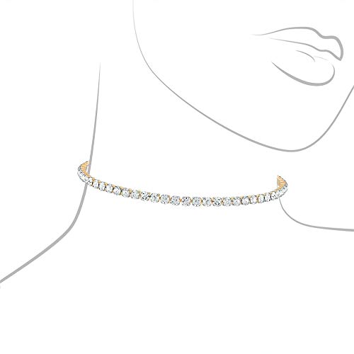 Nikita By Niki  Luxury Statement Crystal Choker | Diamond Necklace For Women (Gold, 1 Row)