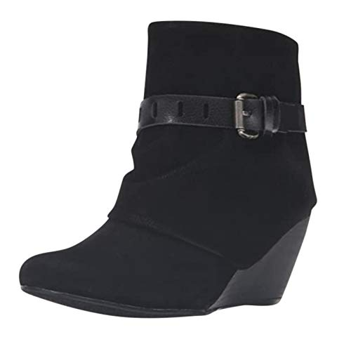 Wedge Booties for Women Buckle Belt Chunky Heeled Zipper Slouchy Fall Winter Ankle Boots Oversized Round Toe Shoes