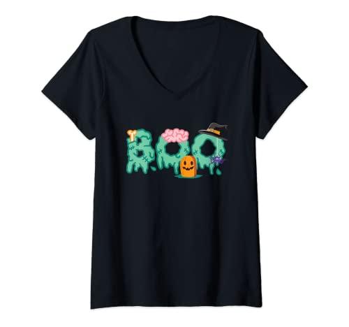 Mujer Araas y Sombrero de Bruja Disfraz de Halloween I Halloween Camiseta Cuello V