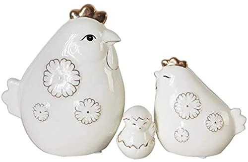 Mxchen Home Decoration Armadietto per vino Accessori ceramica creativa Ceramica Famiglia di tre chincaglie di pollo Artigianato decorativo