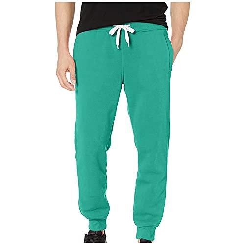 Pantalones de deporte para hombre, ligeros, de un solo color, para correr, básicos, holgados, con cordones, con bolsillos, verde, XXXL