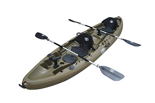 BKC UH-TK219 12-Foot 2-inch Tandem Sit On Top Kayak 2 or 3 Person with 2 Paddles, 2 Seats and 6 Fishing Rod Holders Included( Army Green)