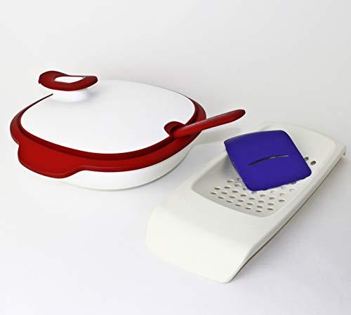 Tupperware WarmieTup, Thermo Duo, Servierschüssel 1,3L + Servierlöffel Rot + Spätzleria + Geschenk Trichter Mini