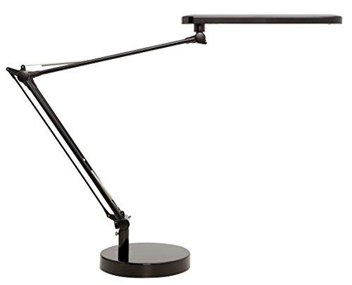 Unilux LED Schreibtischlampe Mambo, schwarz, flexibel durch Doppelgelenkarm, mit Klemme und Tischfuß, 110lm/W, 3000K, 5,8W