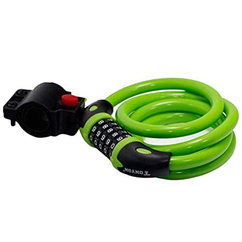 Candado de Bicicleta Bloqueo de bicicletas de 5 dígitos Combinación de código de seguridad Bloqueo de seguridad de bicicleta 1000 mm x 12 mm Cable de acero en bicicleta espiral ( Color : Green )