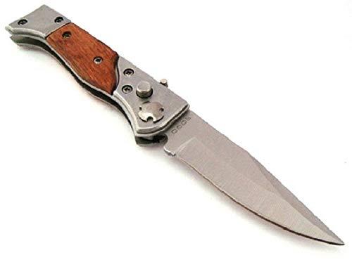 VIKING GEAR EDC Messer Klingenlänge 7,4cm Taschenmesser Einhandmesser Holzgriff Klappmesser, braun Silber