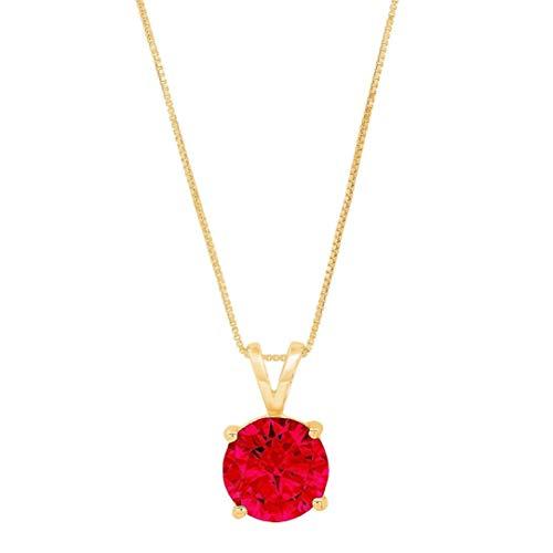 Collar de rubí de 4,86 quilates, hermoso colgante redondo de rubí para novia, regalo de amor, de alta calidad, relleno de oro de 18 quilates
