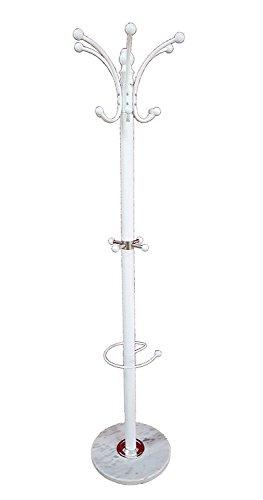 Appendiabiti da Terra Bianco con piedistallo in Marmo, attaccapanni per Giacche, Cappotti, Cappelli, con portaombrelli-EN-23261