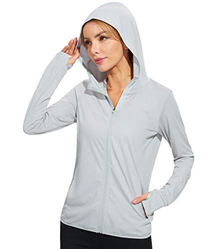 Libin Women's Full Zip UPF 50+ Sun Protection Hoodie Jacket Long Sleeve Sun Shirt Hiking Outdoor Performance with Pockets Light Gery L