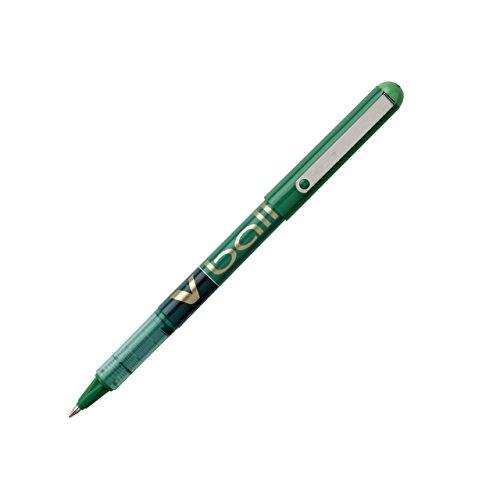 PILOT-Lote de 12 bolígrafo punta de metal, 0,7 mm, tinta líquida V-BALL RT verde