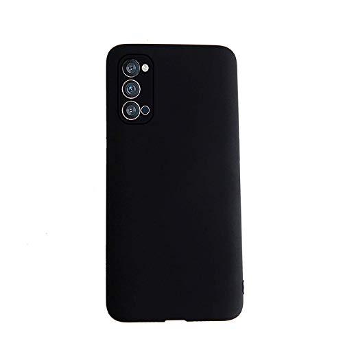 Henxunton Oppo Reno 4 Cover Custodia, Silicone Liquido Cover Soffice Custodia Case Cover per Oppo Reno 4 Smartphone (Nero)