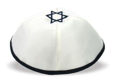 De haute qualité en forme d'étoile de David de 'Chai'Kippa Bleue en Satin Blanc 20 cm de diamètre