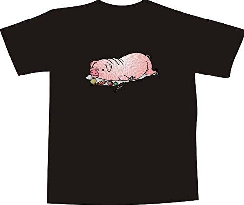 Black Dragon - T-Shirt E923 - Farbe nach Wahl - Größe XL - Logo - Grafik - Comic Design - Dickes Spanferkel mit Gemüse - Funshirt Mann Frau Party Fasching Geschenk Arbeit - Bedruckt